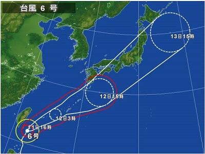 台風号接近